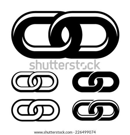 vector together chain black white symbols - stock vector