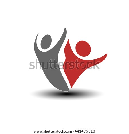 Vector together joined people icon. Red and grey community symbol. Human sign of two partners. Silhouttes of body with transparency shadow. Symbol of success.