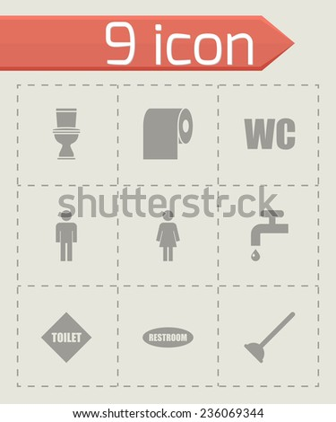 Vector toilet icon set on grey background - stock vector
