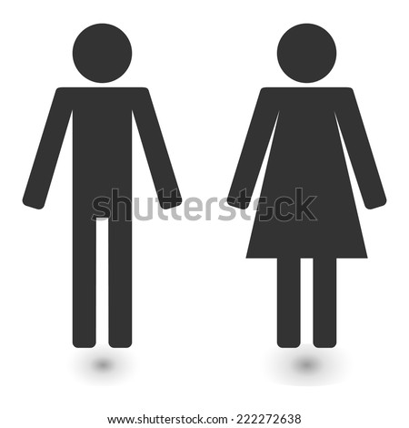 vector toilet signs set male female icon restroom - stock vector
