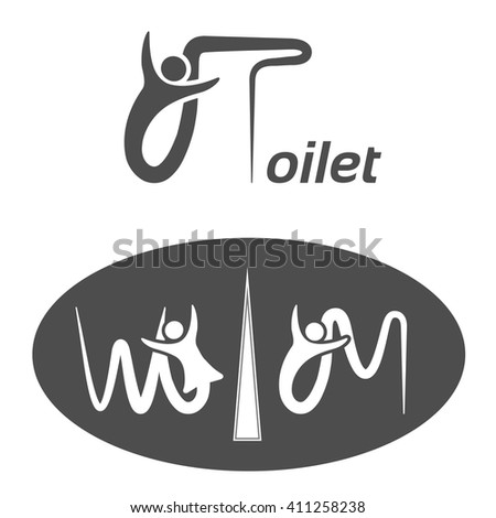 Vector toilet symbols isolated on white background. White silhouettes with letters in a dark grey oval label and dark grey toilet icon on white background. Man and woman sign.