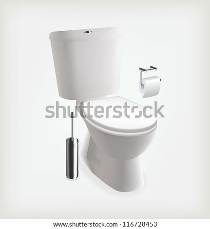 Vector toilet. Toilet brush and toilet paper