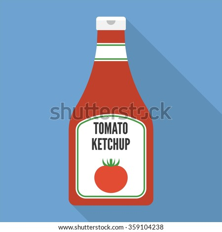 Vector tomato ketchup icon, flat design