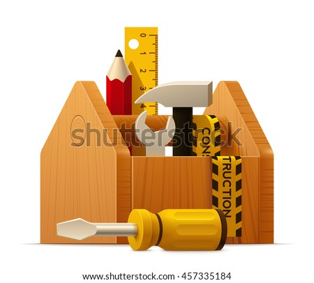 Vector toolbox with pencil, hammer, screwdriver and ruler icon  - stock vector