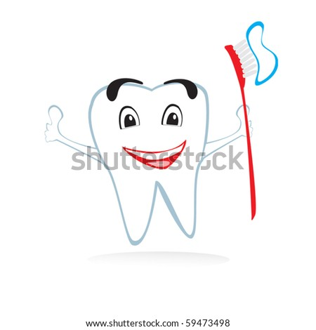 Vector tooth with brush - stock vector