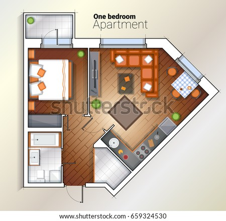 Architectural Color Floor Planstudio Apartment Stock Vector