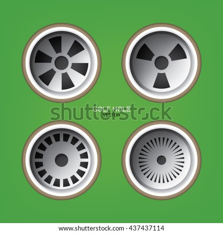 Vector top views golf holes set on green background of golf course. - stock vector