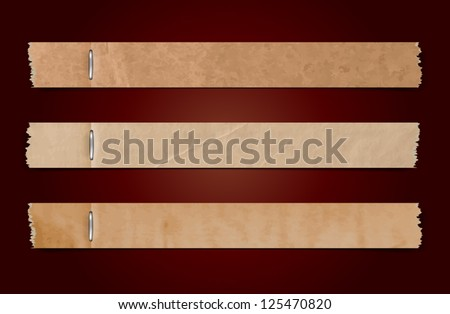 Vector torn old paper banners with staples - stock vector