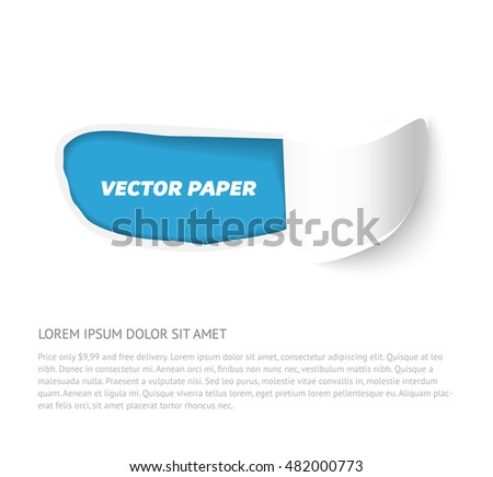 Vector torn paper banner with roll isolated on white background. Hole in white paper with torn sides. Torn paper template for sale promo and advertising.