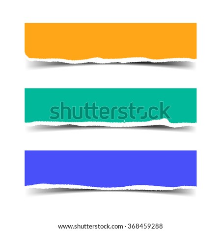 Vector torn paper banners with shadow and space for text - stock vector
