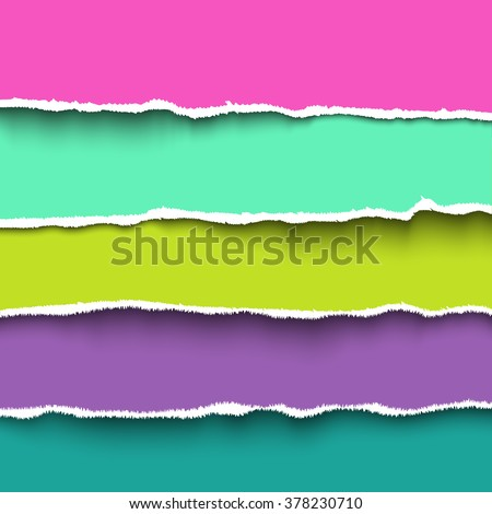 Vector torn paper. Set of colorful pieces torn paper with ripped edges, torn cardboard - stock vector