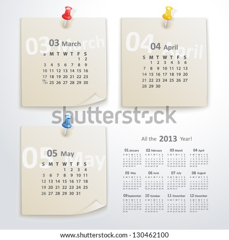Vector torn sheets of paper with pushpins. Calendar 2013 year. - stock vector