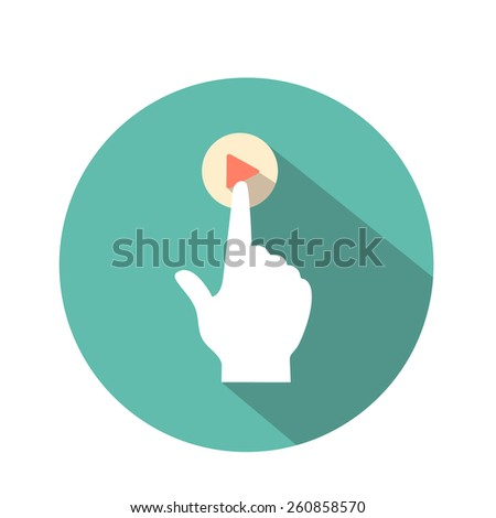 vector touch icon flat style  for web and mobile  hand and  pressed finger  - stock vector