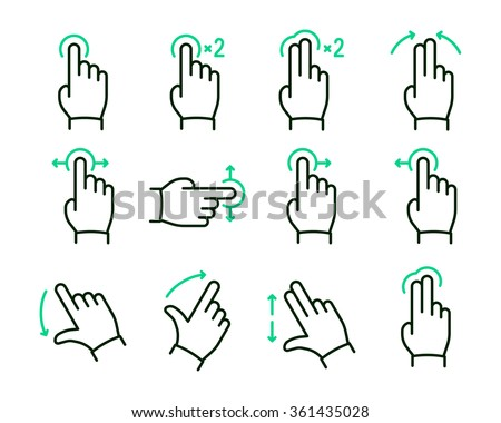 Vector touch screen gestures icons set // 02 - stock vector