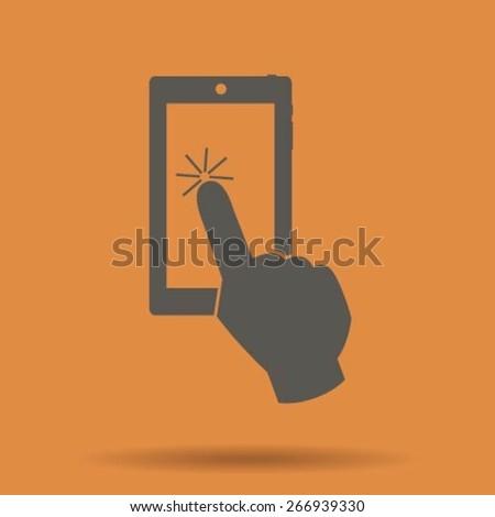 Vector touch screen smartphone icon - stock vector