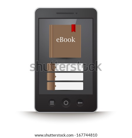 Vector touchscreen smartphone with e-book on display