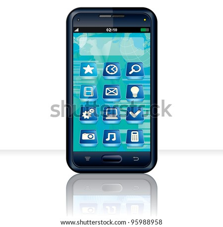Vector Touchscreen Smartphone with Multimedia Interface - stock vector