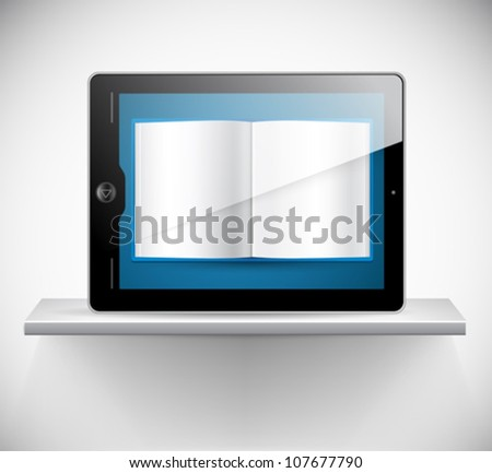 Vector touchscreen tablet and a book reader - stock vector