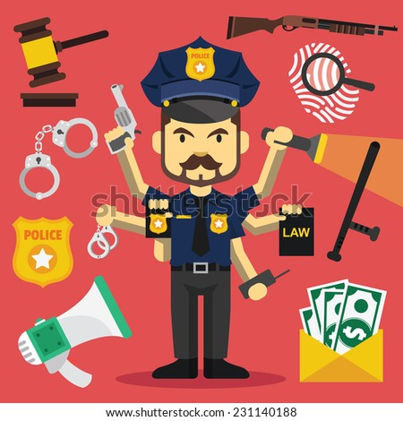 Vector tough policeman with lot of hands and police equipment icons. Creative vector flat illustration. Cute mascot concept. Trendy style graphic design elements. - stock vector