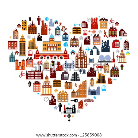 Vector townhouses built as heart on white background - stock vector