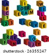 "Vector toy blocks with letters forming the words ""love"", ""will"", ""dream"", ""friend"", ""joy"" - stock photo"