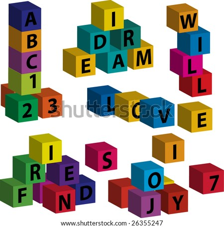 """Vector toy blocks with letters forming the words """"love"""", """"will"""", """"dream"""", """"friend"""", """"joy"""" - stock vector"""