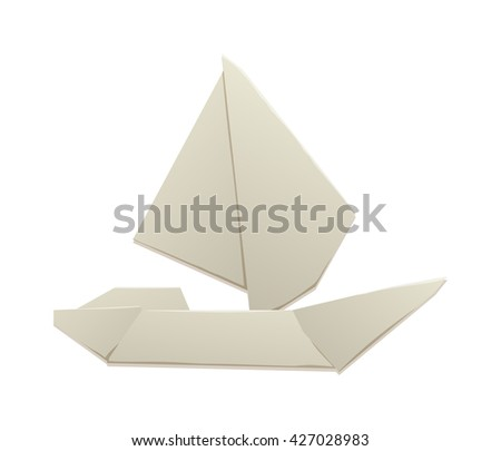 Vector toy ship white origami boat and travel sailboat toy ship. Toy ship fun model yacht andplay small toy ship. Transportation ocean cruise children toy and game craft old souvenir origami toy.