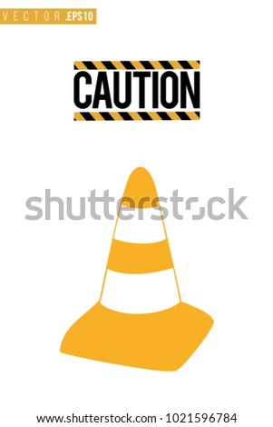 Vector toy yellow traffic cone with motivational text: caution sign. Construction machinery illustration in child style for kids room, t-shirt, invitations, game, website, mobile app. Greeting card.