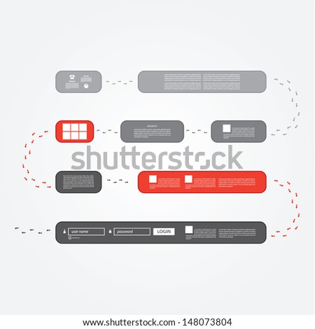 Vector track - presentation. Board game, with eight steps with space for your information. Creative elements for presentation, website or poster.
