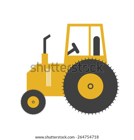 vector tractor, tractor on a white background - stock vector