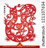 Vector Traditional Chinese Paper Cutting For The Year of Snake Translation: Auspicious Year of Snake - stock photo