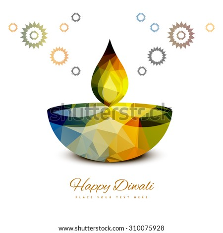 vector traditional Hindu festival Diwali lamp colorful design  - stock vector