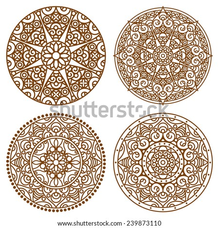 Vector traditional indian outline mandala set. Orient tribal circle sign illustration.Lace ethnic design element. - stock vector