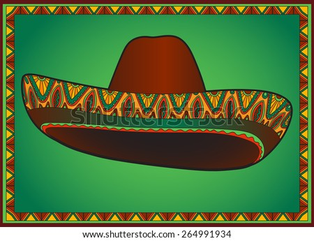 Vector traditional mexican hat. Vector sombrero with ornament.