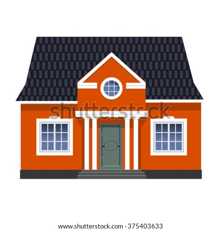 vector traditional red english cottage