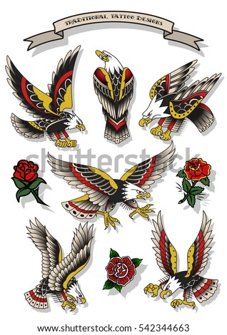 Vector Traditional Tattoo Eagles Set American Stock Vector 542344663 Shutterstock