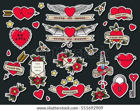 Schön Vector Traditional Tattoo Valentineu0027s Day Flash Set Tattooing Flowers,  Hearts, Wings, Ribbons,
