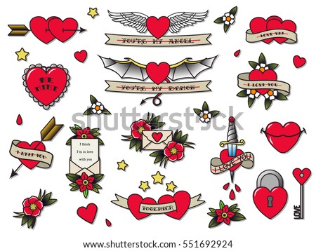 Vector valentines day hearts set traditional for Valentine s day tattoos