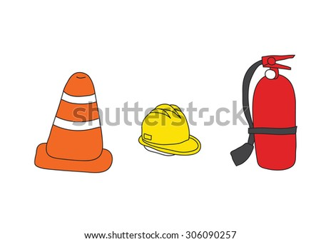 Vector traffic cone, hard hat and