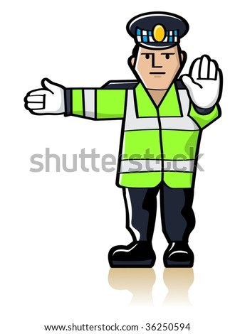 Vector Traffic Officer - stock vector
