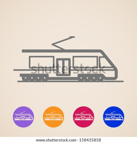 vector train icons - stock vector