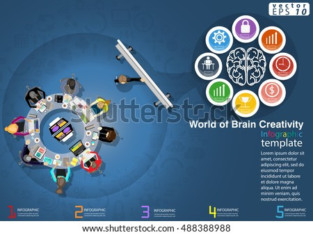 Vector Training World of Brain Creativity Business modern Idea and Concept illustration Infographic template