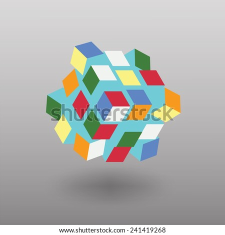 Vector Transformer Cube Similar to Rubik's Cube  - stock vector