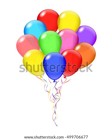 Vector transparent balloons bunch. Balloon's opacity is adjustable.