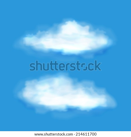 Vector transparent clouds on a blue sky in two different soft wispy white shapes for meteorology  forecasts  weather and climate concepts - stock vector