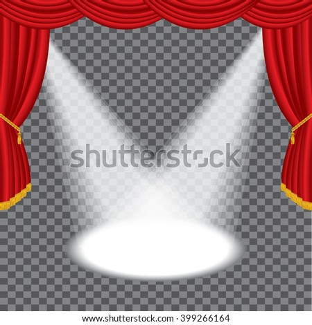 vector transparent empty red stage with two spotlights - stock vector