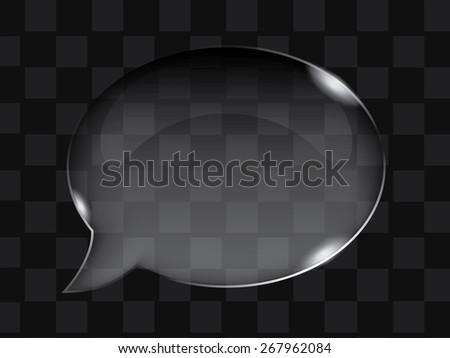 Vector transparent glass bubble or button shape - stock vector