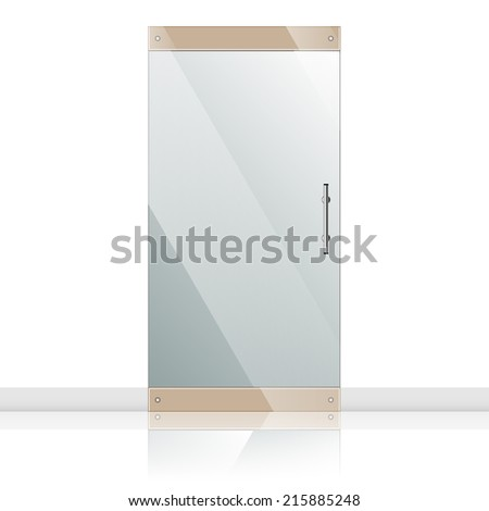 Vector transparent glass door in steel frame isolated on white wall. Architectural interior symbol.  EPS10 - stock vector