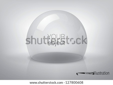 Vector transparent semi-sphere, specks of light and reflections - stock vector