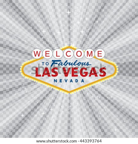 vector transparent sign of Las Vegas with stars and burst, layered and fully editable - stock vector